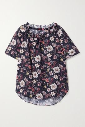 Adam Lippes Ruffled Floral-print Cotton-blend Poplin Top - Navy
