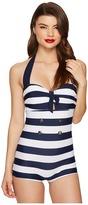 Unique Vintage Striped Nautical Garbo Suit Women's Swimsuits One Piece