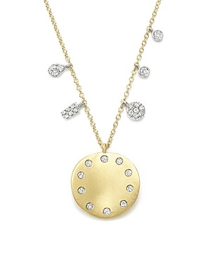 Meira T 14K White and Yellow Gold Curved Disc Pendant Necklace, 16