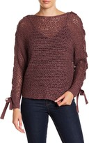 Jolt Lace-Up Dolman Sleeve Sweater