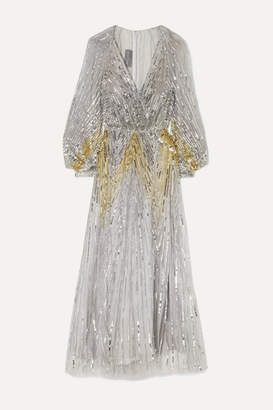 Monique Lhuillier Sequined Tulle Gown - Silver