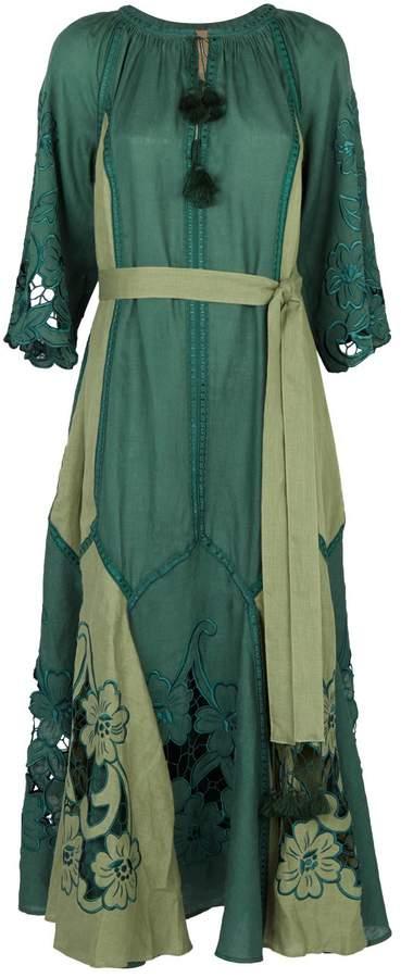 Dragon Optical March11 Linen Flower Maxi Dress