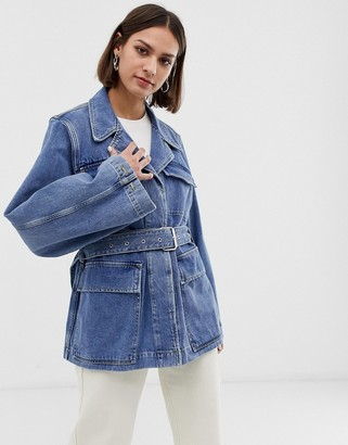 Selected tie waist denim jacket with balloon sleeves-Blue