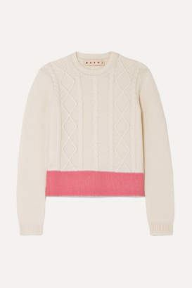 Marni Color-block Cable-knit Wool Sweater - Ivory