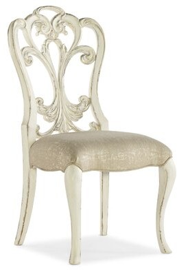 Hooker Furniture Sanctuary 2 Queen Anne Solid Wood Back Side Chair in Cream (Set of 2