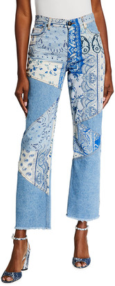 Etro Patchwork Jeans with Fringe Hem