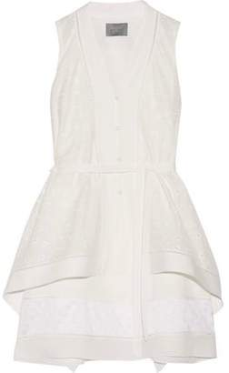 Maiyet Asymmetric Pointelle-trimmed Cotton And Silk Mini Dress