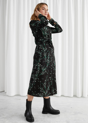 And other stories Floral Open Collar Belted Midi Dress