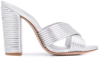 Schutz Metallic High Heel Mules