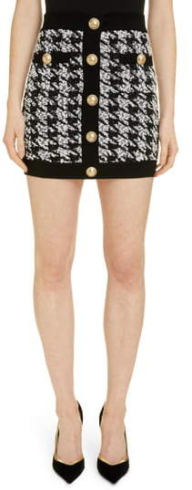 Balmain Houndstooth Tweed Miniskirt