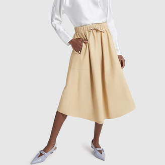 Vince Paneled Leather Skirt