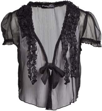 Pretty Angel Women's Blouses BLACK(BK) - Black Sheer Linen-Blend Bolero - Women