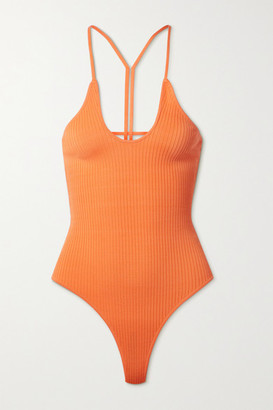 Dodo Bar Or Faye Open-back Ribbed-knit Bodysuit - Orange