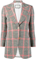 Gucci embroidered check jacket - women - Cotton/Linen/Flax/Polyamide/Wool - 36