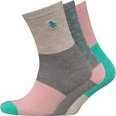 Original Penguin Womens Three Pack Patterned Ankle Socks Pink/Grey Block Stripe
