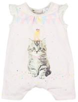 Fox & Finch Girls Birdie Kitten Romper (NB - 9M)