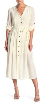 Hyfve Long Sleeve Button Front Dress