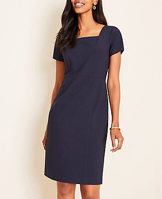 Ann Taylor The Petite Square Neck Sheath Dress in Seasonless Stretch