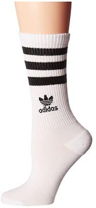 adidas Roller Crew Sock 1-Pair Pack (White/Black) Women's Crew Cut Socks Shoes