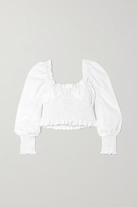 Faithfull The Brand Net Sustain Bel Rose Cropped Shirred Linen Top - White