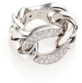 Roberto Coin Gourmette Diamond & 18K White Gold Link Ring