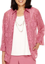Alfred Dunner Baton Rouge 3/4-Sleeve Layered Necklace Shirt