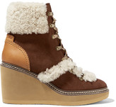 See by Chloe Leather And Shearling-trimmed Suede Wedge Boots - Chocolate