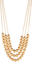 Lydell NYC Long Triple-Strand Beaded Necklace, Matte Golden