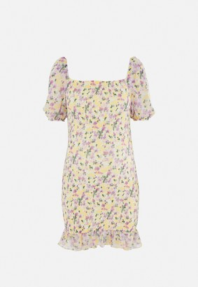 Missguided Yellow Floral Shirred Maternity Mini Dress