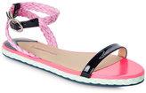 Sophia Webster Blue Bea Open Toe Flat Sandals
