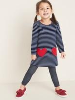 Old Navy Striped Fleece-Knit Heart-Pocket Shift Dress for Toddler Girls