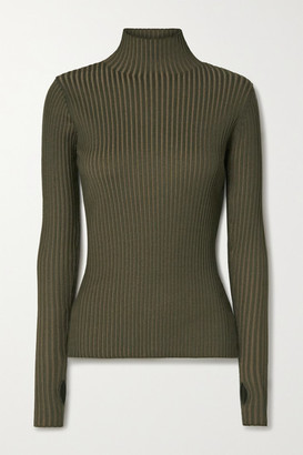 HOLZWEILER Ebo Ribbed-knit Turtleneck Sweater - Army green