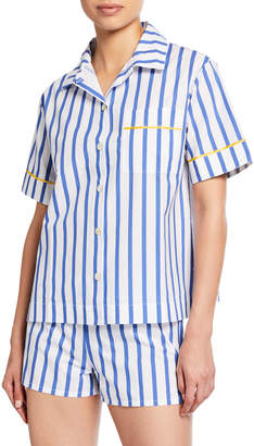 Lulu Hesper Fox Short-Sleeve Striped Pajama Shirt