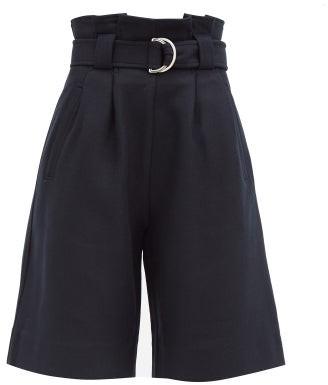 Ganni Paperbag-waist Wool-blend Bermuda Shorts - Navy