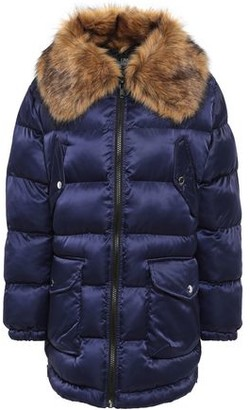Love Moschino Faux Fur-trimmed Quilted Shell Coat