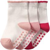 Joe Fresh Baby Girls' 3 Pack Crew Socks, White (Size 0-12)