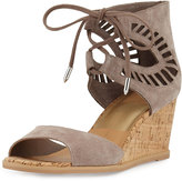 Dolce Vita Lacy Laser-Cut Cork-Wedge Sandal, Taupe