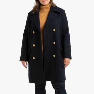 La Redoute Collections Plus Long Double-Breasted Pea Coat in Wool Mix with Pockets