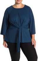 ELOQUII Tie Front Flared Sleeve Blouse (Plus Size)