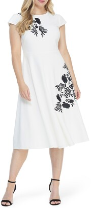 Maggy London Embroidered Crepe A-Line Midi Dress