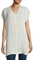 Eileen Fisher Organic Linen Cap-Sleeve V-Neck Top