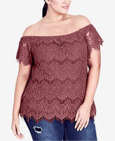 City Chic Trendy Plus Size Off-The-Shoulder Lace Top