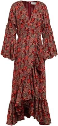 Sachin + Babi Wrap-effect Floral-print Cotton Midi Dress
