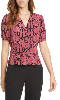 BA&SH Cleo Snake Print Short Sleeve Top