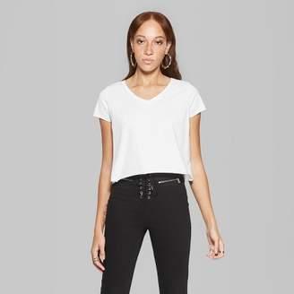 Women's Short Sleeve V-Neck Boxy T-Shirt - Wild FableTM White