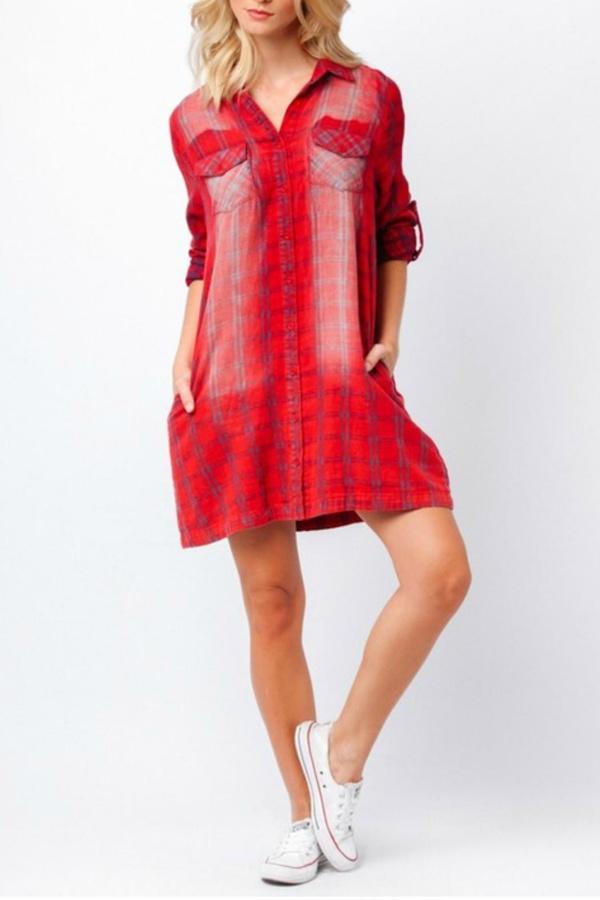 Paper Crane Red Plaid Shirt Dress