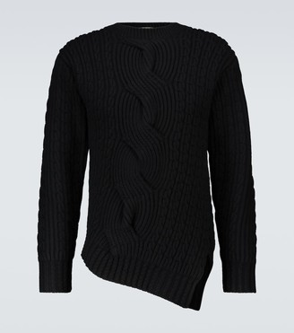 Alexander McQueen Asymmetric wool and cashmere sweater