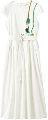 Tibi Calla Lily Dropwaist Dress in White