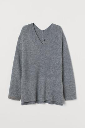 H&M V-neck Wool-blend Sweater - Gray