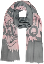 Kenzo Gray and Pink Wool and Silk Crest Tiger Stole